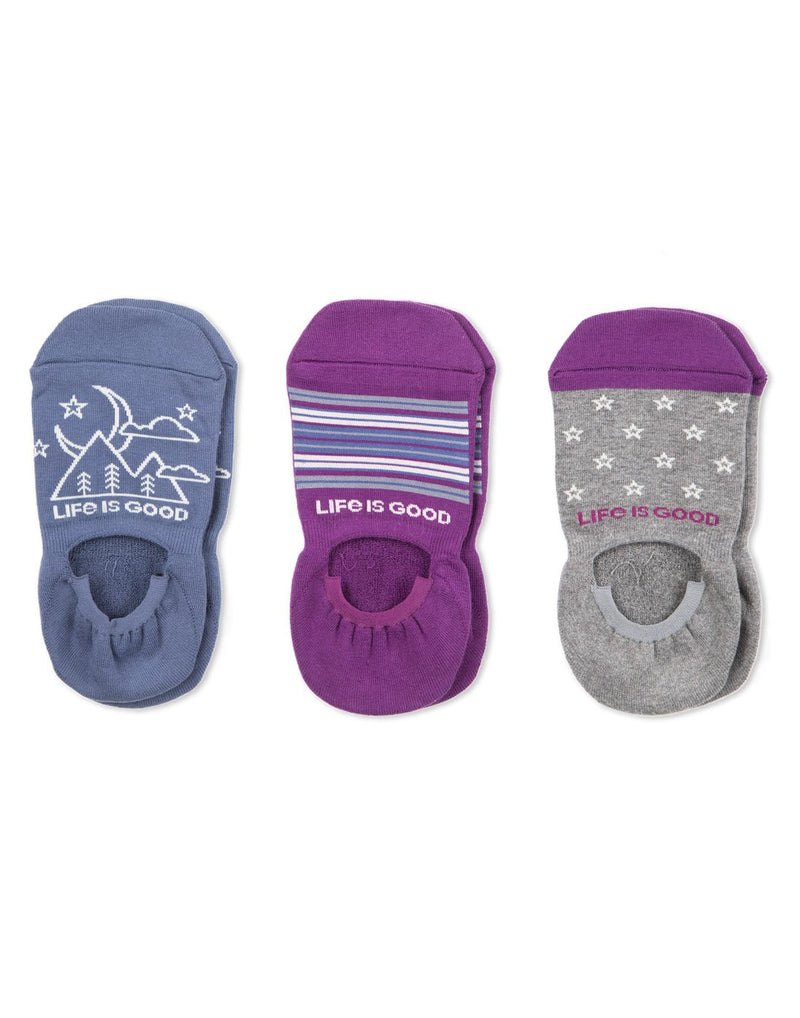 Life is good women's 3-pack outdoor stars no show socks front view