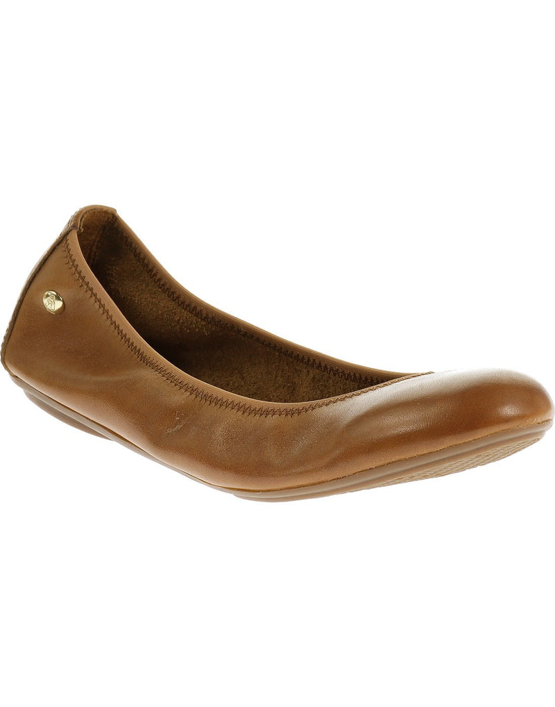 Hush puppies women's leather shoe cognac leather colour front view