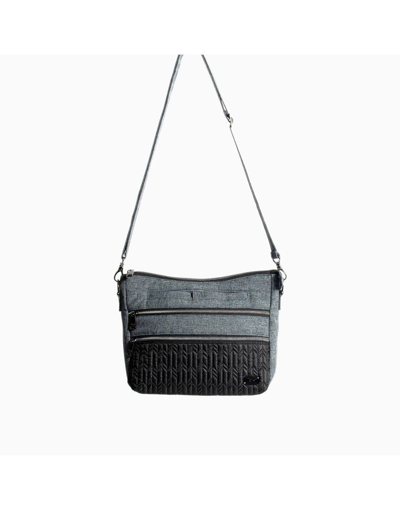 Lug slider midnight black colour crossbody purse zoom out front view