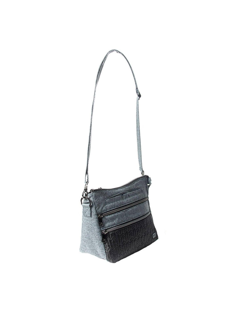 Lug slider midnight black colour crossbody purse zoom out corner view