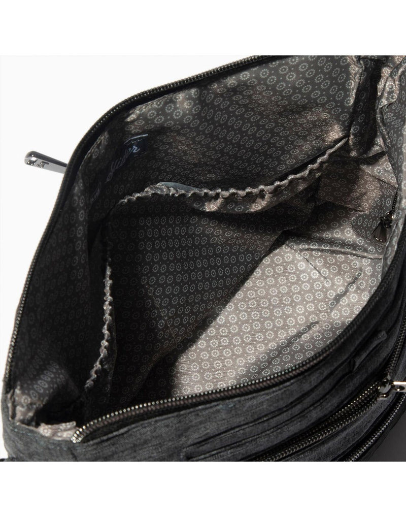 Lug slider midnight black colour crossbody purse close up view
