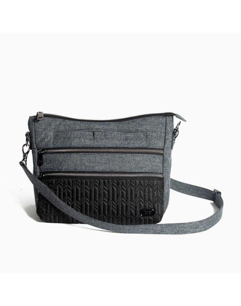 Lug slider midnight black colour crossbody purse front view