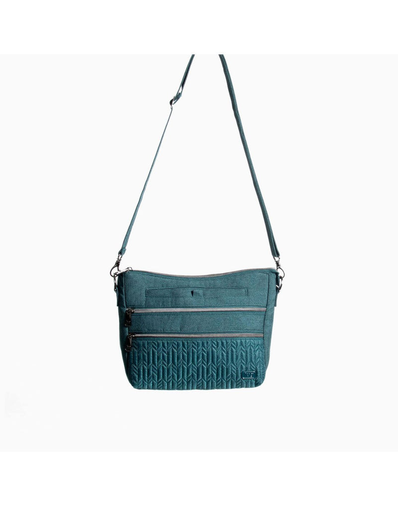 Lug slider peacock blue colour crossbody purse zoom out front view
