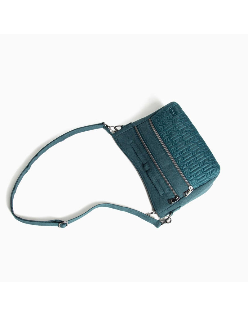 Lug slider peacock blue colour crossbody purse top view
