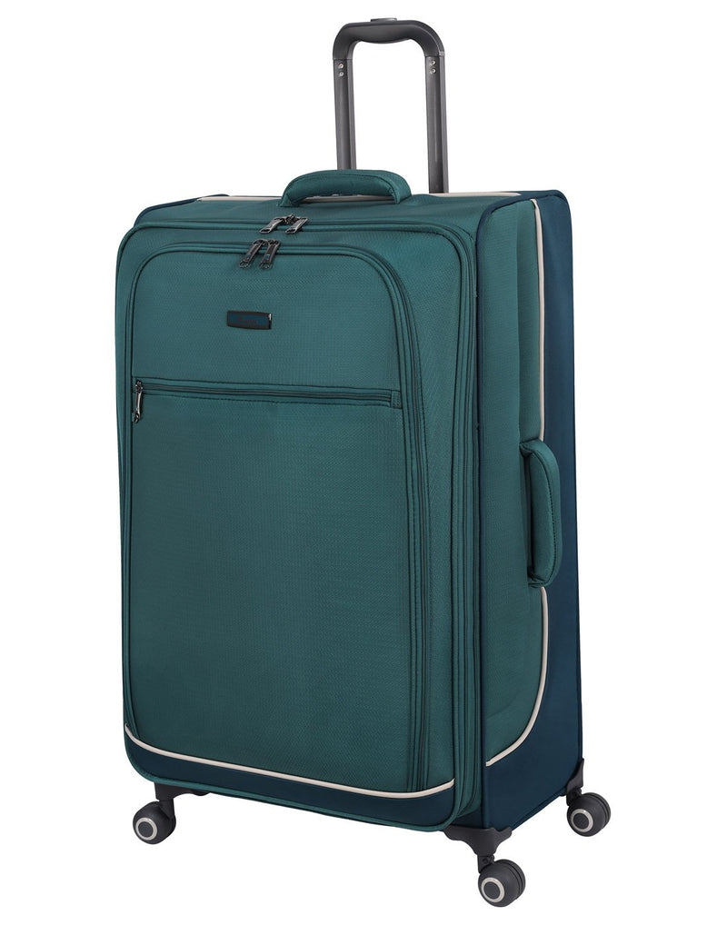 "It encircle 31"" spinner teal blue colour luggage bag front view"