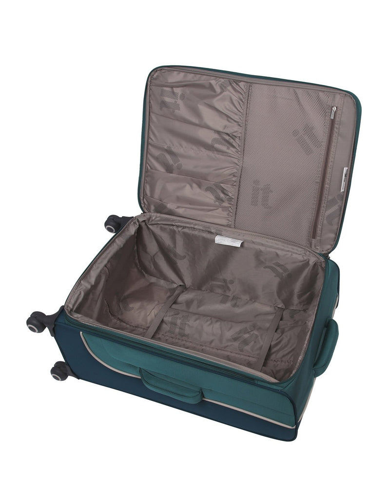 "It encircle 31"" spinner teal blue colour luggage bag interior"