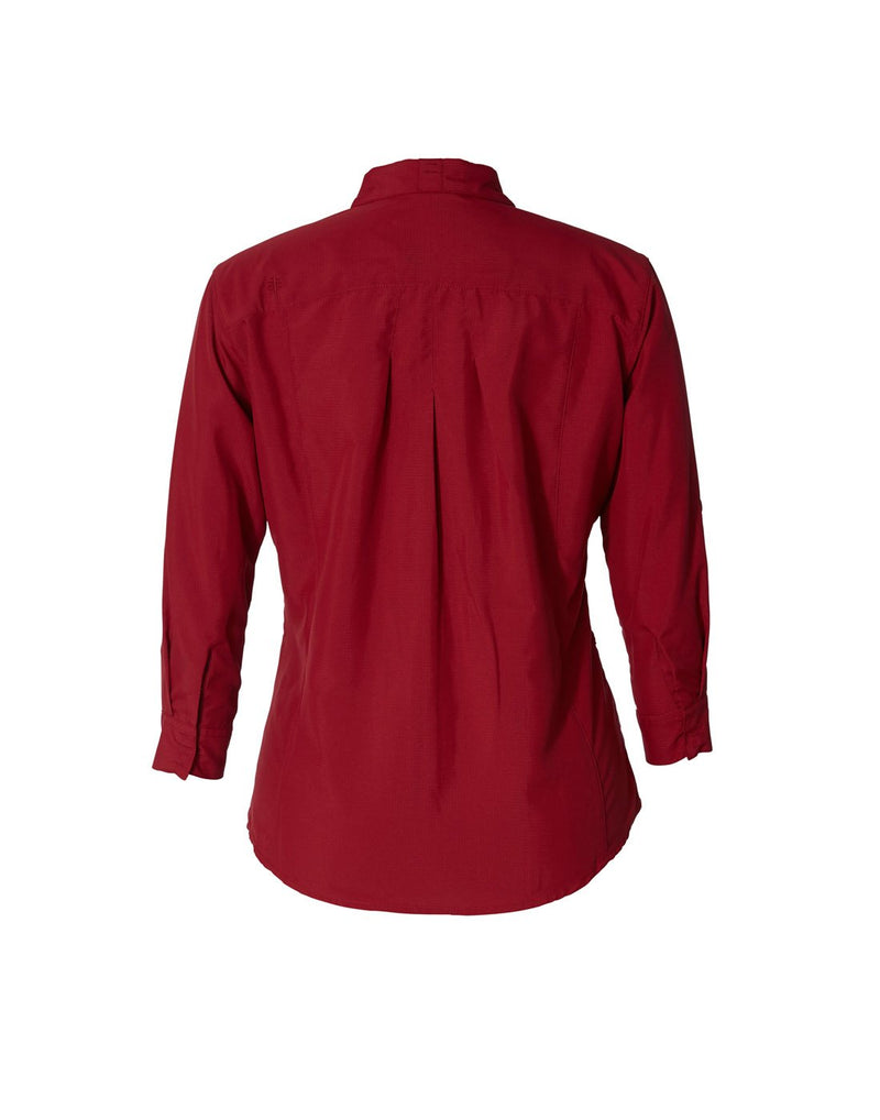 Women's expedition dry stretch 3/4 sleeve shirt rhubarb colour back view