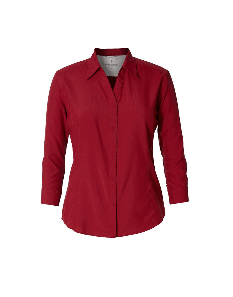 Women's expedition dry stretch 3/4 sleeve shirt rhubarb colour front view