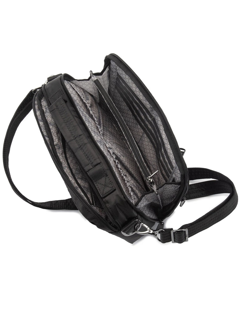 Lug scoop midnight black colour crossbody purse inside view