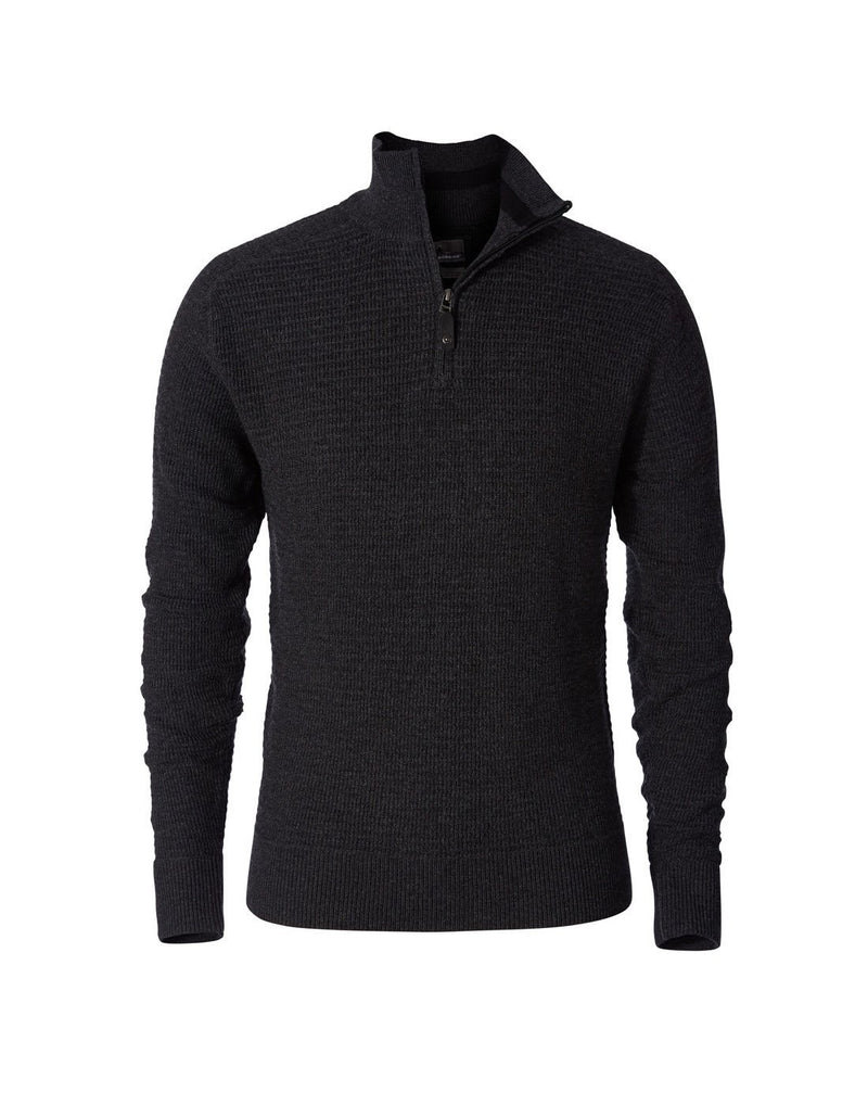 Royal robbins men's merino thermal 1/4 zip sweater charcoal colour front view
