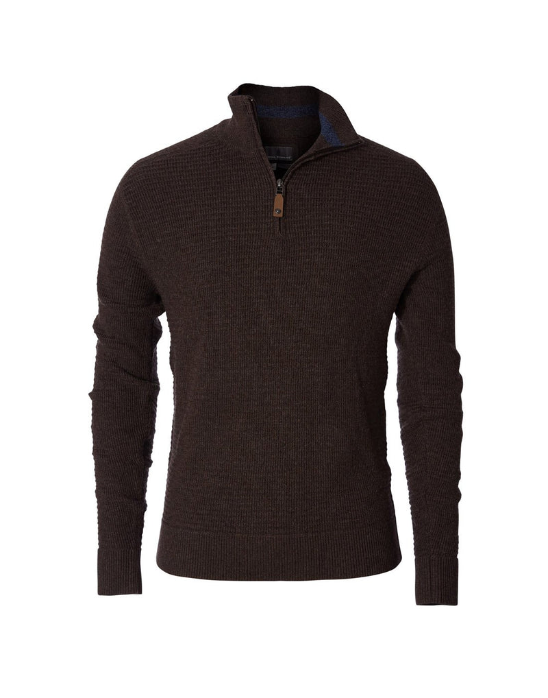 Royal robbins men's merino thermal 1/4 zip sweater turkish coffee colour front view