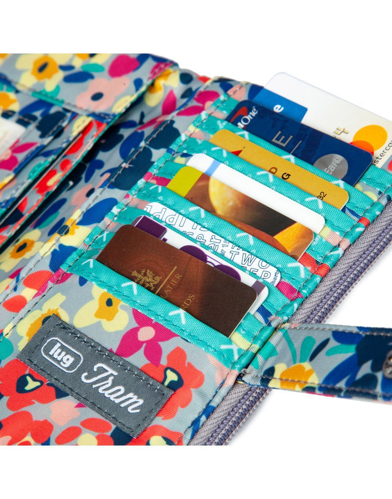 Lug tram wild flower multi design wallet card slots close up view