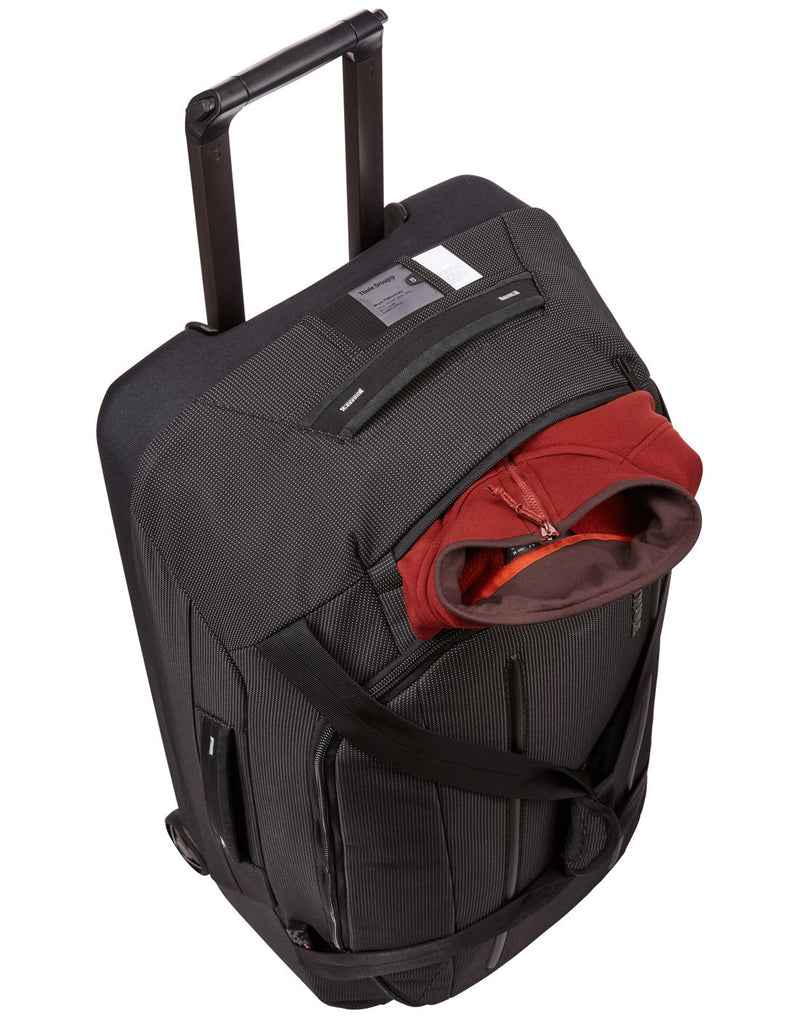 Thule crossover 2 wheeled black colour duffel bag top view