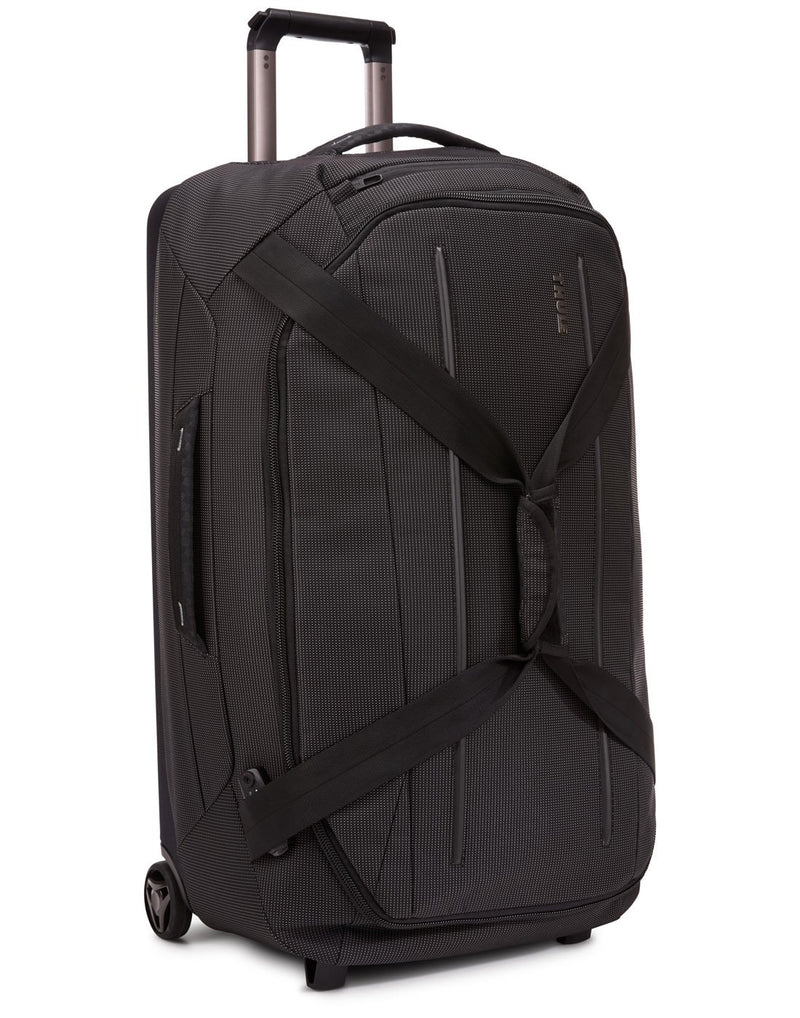 Thule crossover 2 wheeled black colour duffel bag corner view