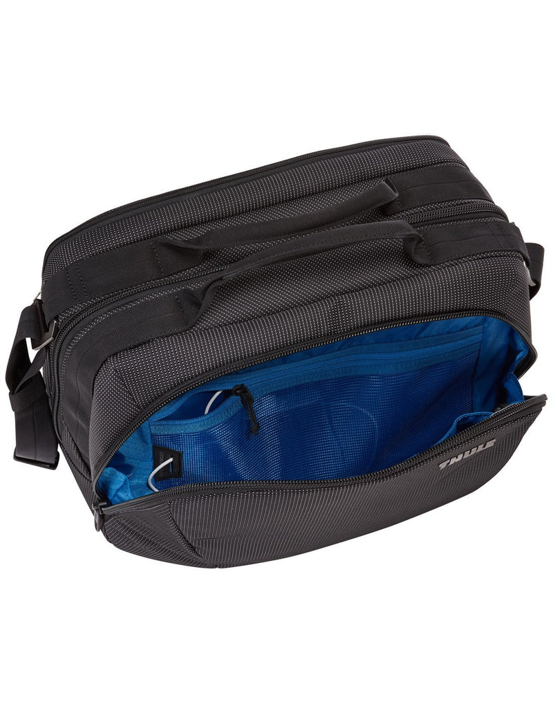 Thule crossover 2 black colour boarding bag inside view of front pocket