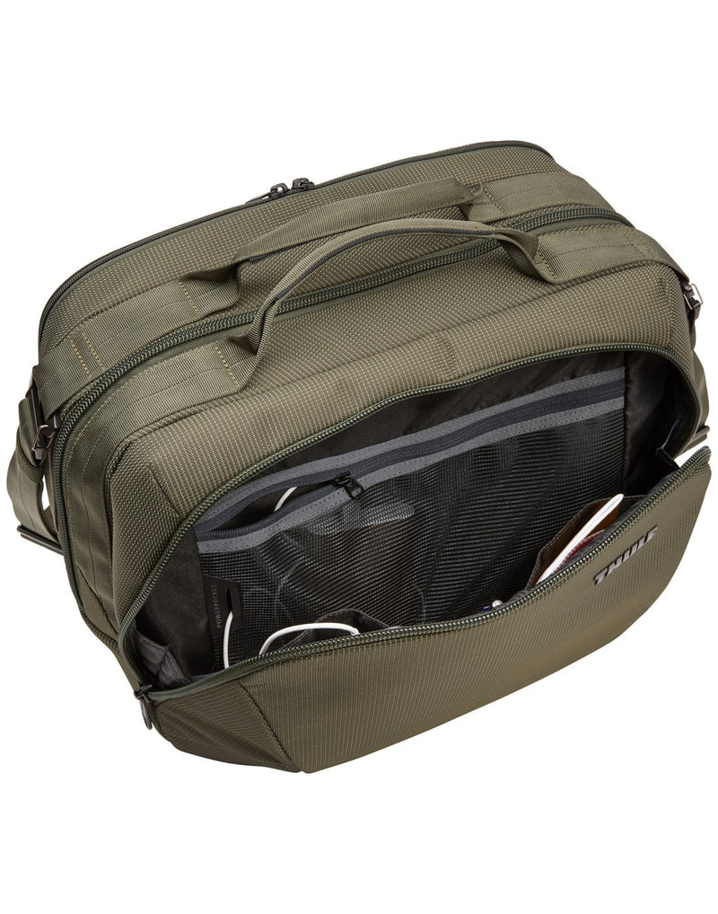 Thule crossover 2 forest night colour boarding bag opened front pocket