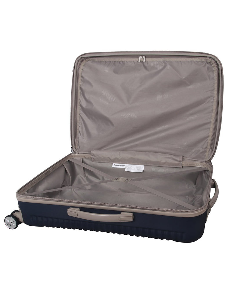 "It outlook 31"" spinner blue colour luggage bag interior view"