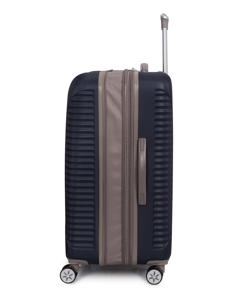 "It outlook 31"" spinner blue colour luggage bag side view"