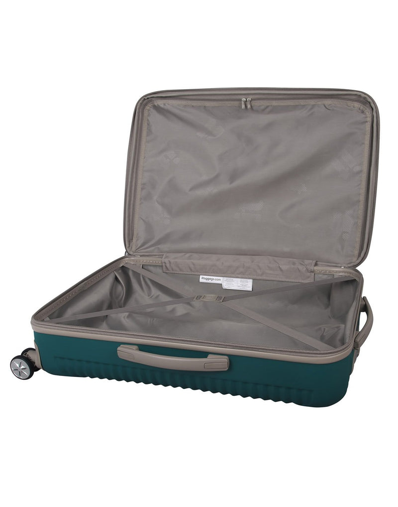 "It outlook 31"" spinner teal colour luggage bag interior view"