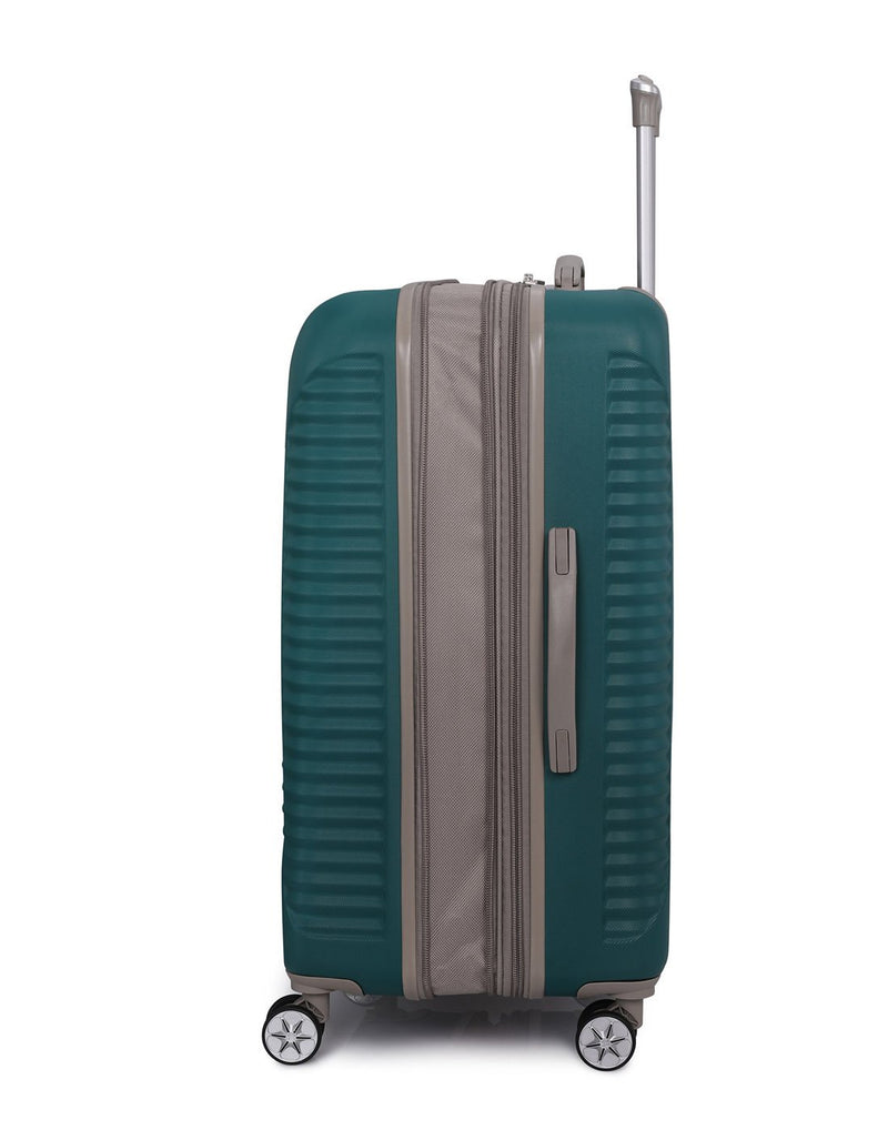 "It outlook 31"" spinner teal colour luggage bag side view"