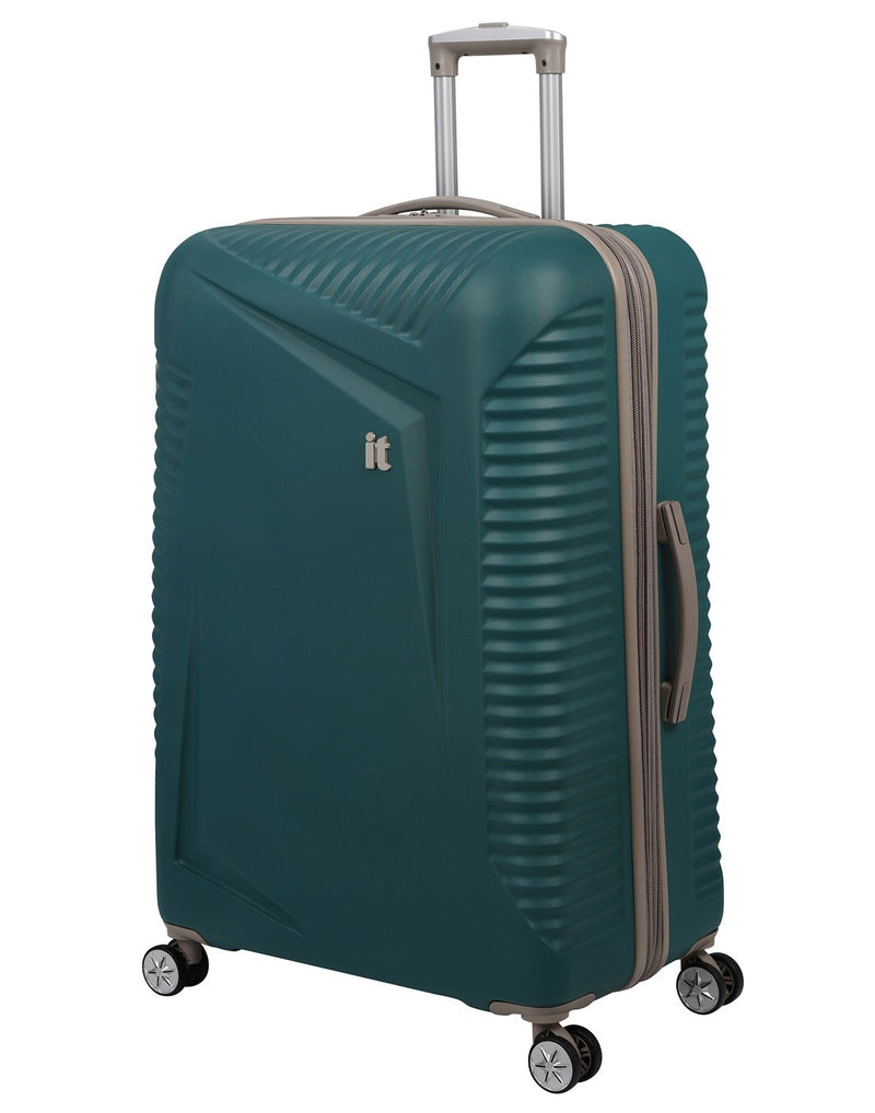 "It outlook 31"" spinner teal colour luggage bag front view"