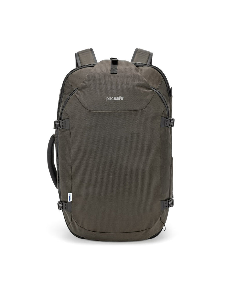 Pacsafe venturesafe EXP45 ECONYL bedrock colour recycled travel pack front view