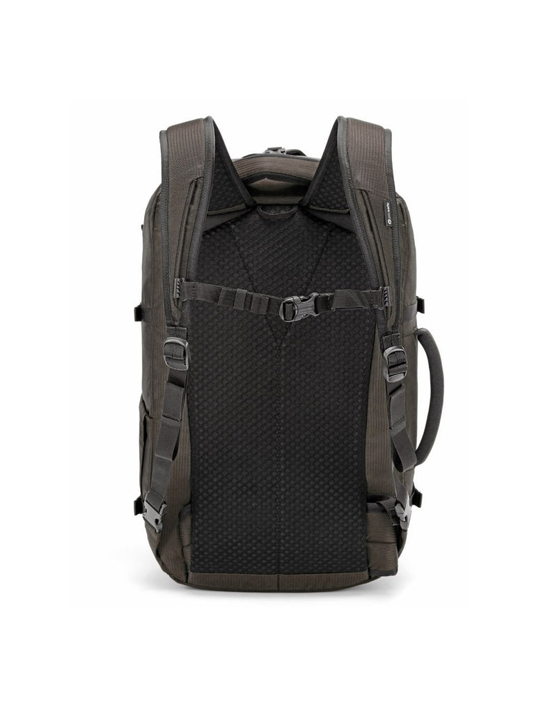 Pacsafe venturesafe EXP45 ECONYL bedrock colour recycled travel pack back view