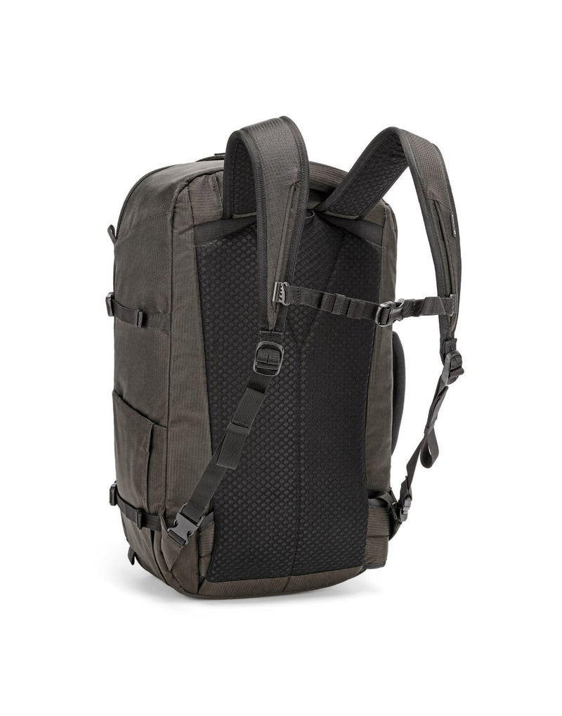 Pacsafe venturesafe EXP45 ECONYL bedrock colour recycled travel pack sideback view