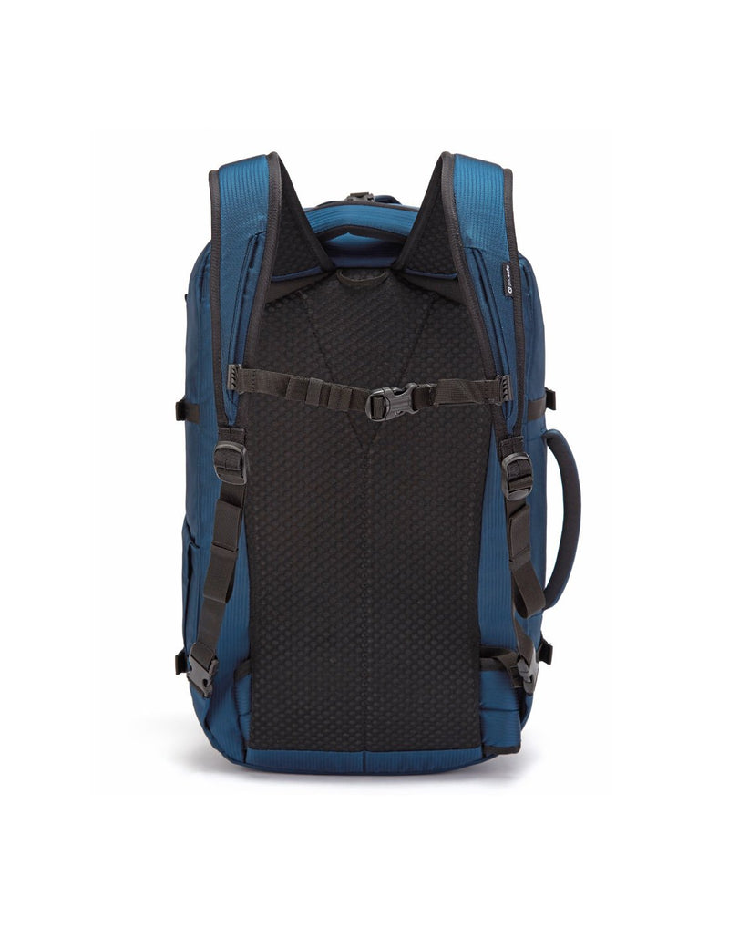 Pacsafe venturesafe EXP45 ECONYL ocean colour recycled travel pack back view