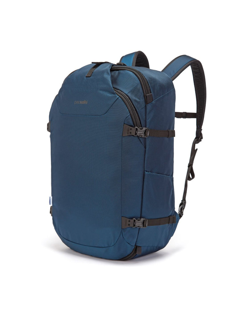 Pacsafe venturesafe EXP45 ECONYL ocean colour recycled travel pack corner view