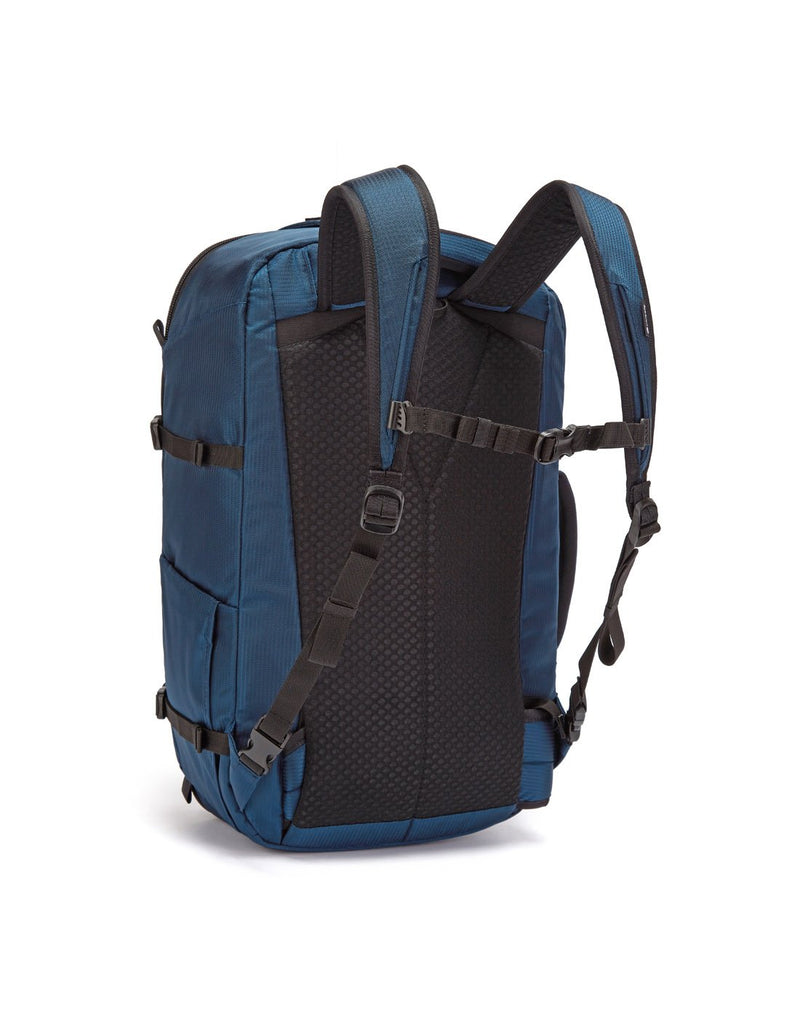 Pacsafe venturesafe EXP45 ECONYL ocean colour recycled travel pack sideback view