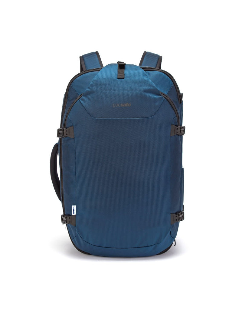 Pacsafe venturesafe EXP45 ECONYL ocean colour recycled travel pack front view