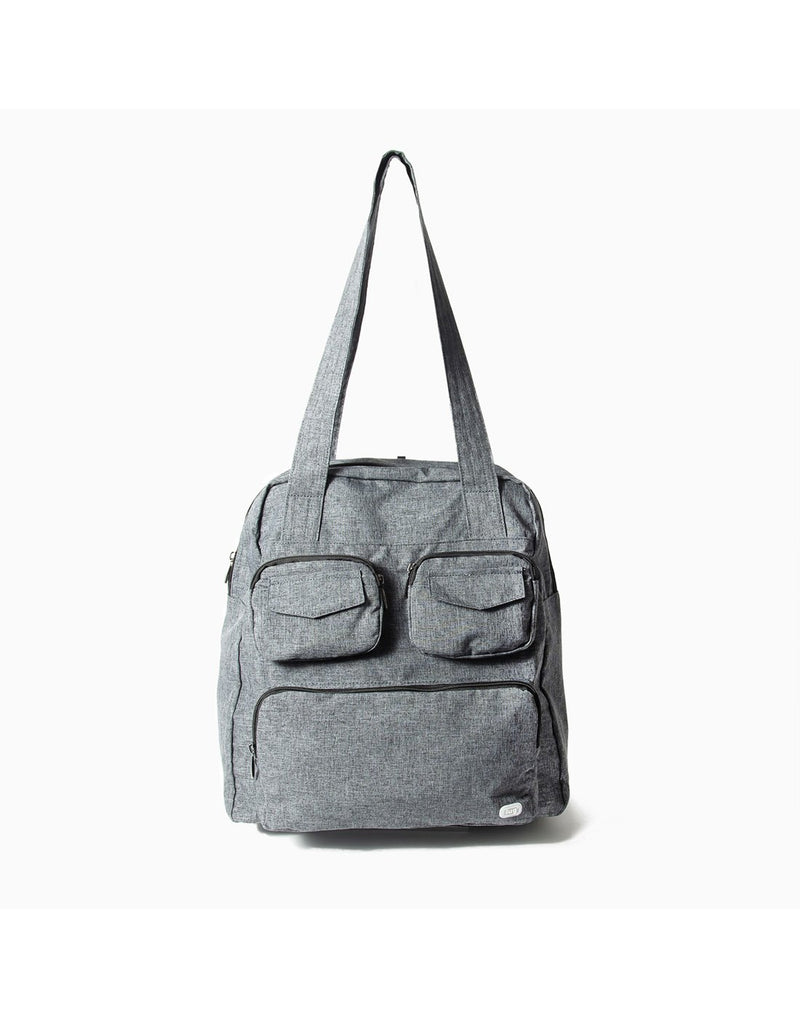 Lug puddle heather grey colur packable bag front view