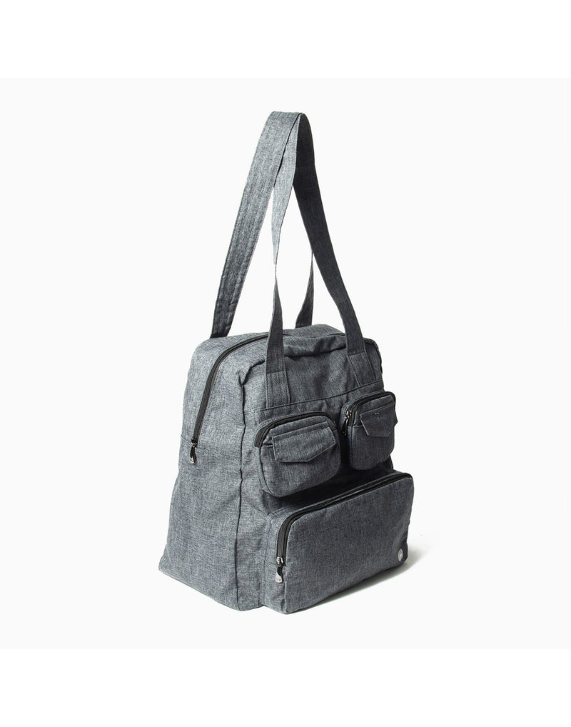Lug puddle heather grey colur packable bag corner view
