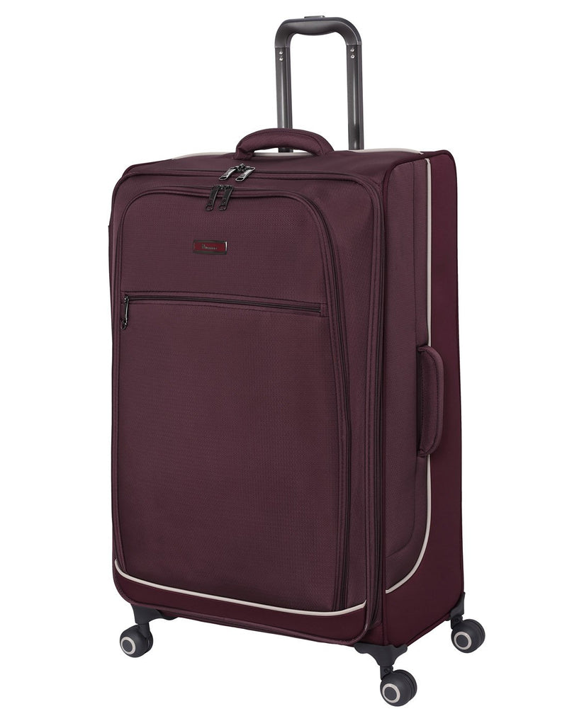 "It encircle 31"" spinner wine red colour luggage bag front view"