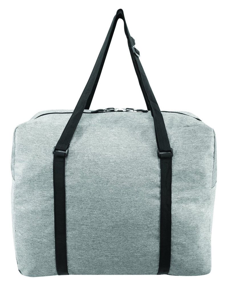 Roots foldable grey colour travel bag back view