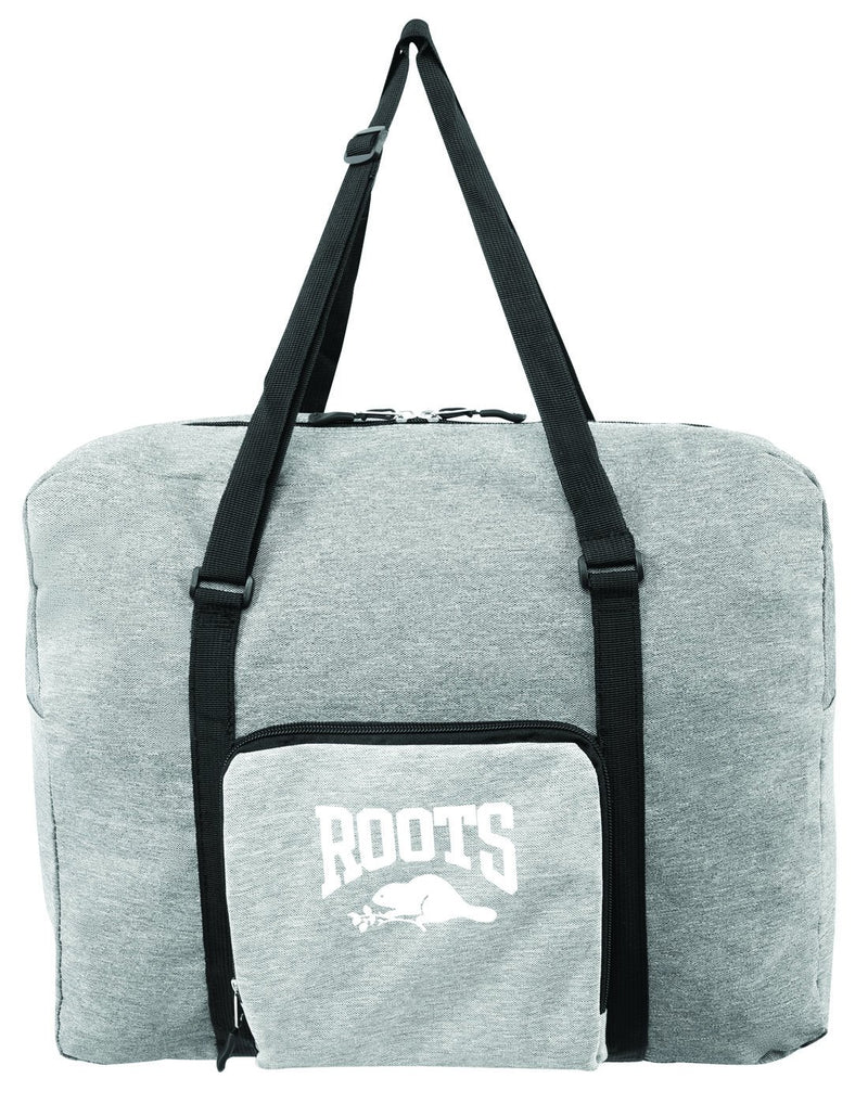 Roots foldable grey colour travel bag front view