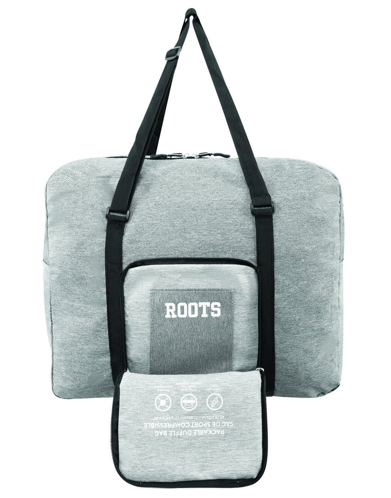 Roots foldable grey colour travel bag front pouch view