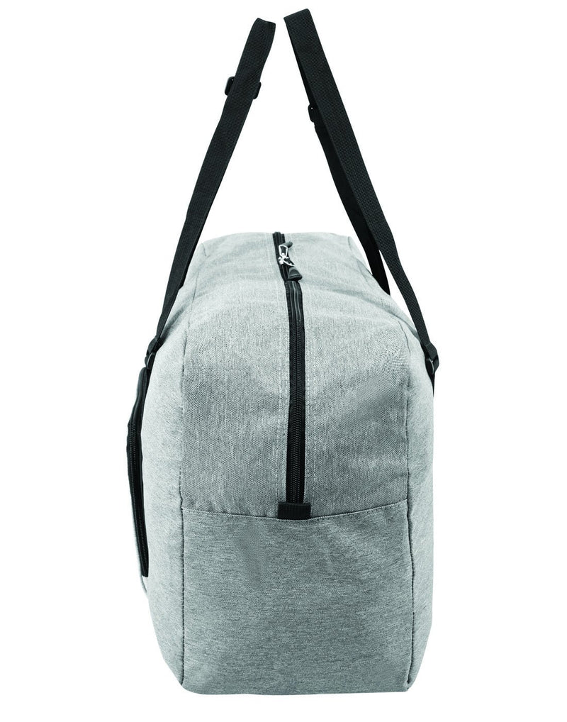 Roots foldable grey colour travel bag left side view