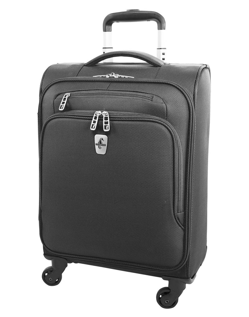 "Atlantic evo lite 19"" carry-on spinner charcoal colour luggage bag front view"