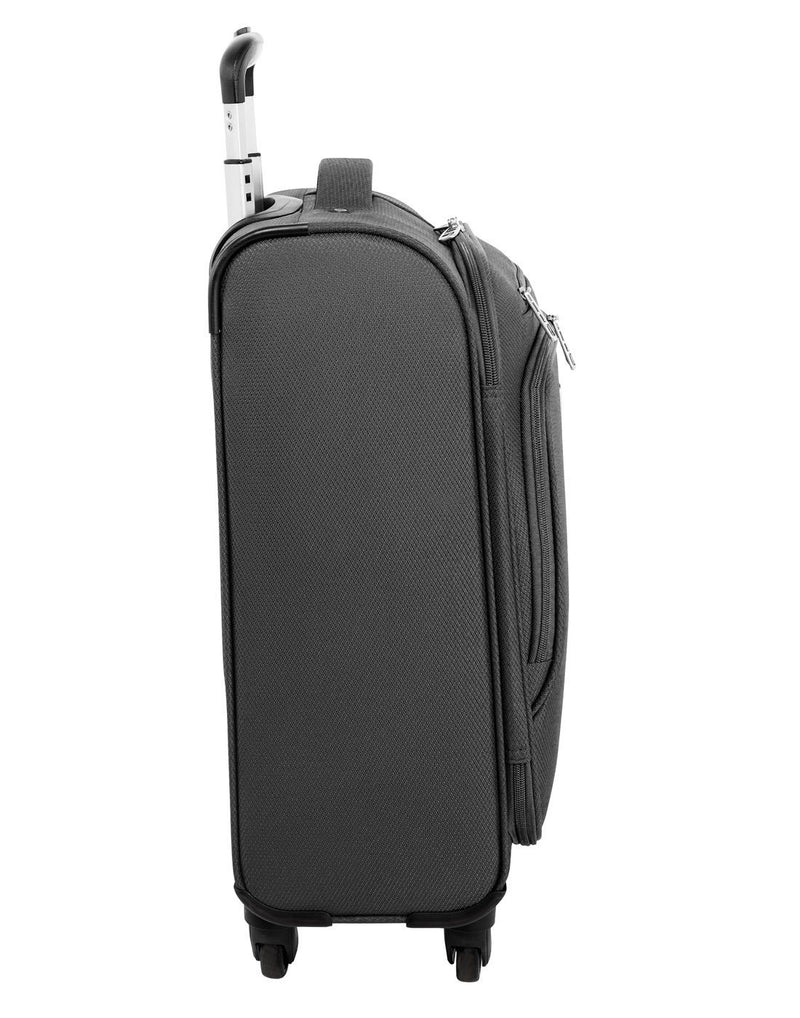 "Atlantic evo lite 19"" carry-on spinner charcoal colour luggage bag left side view"