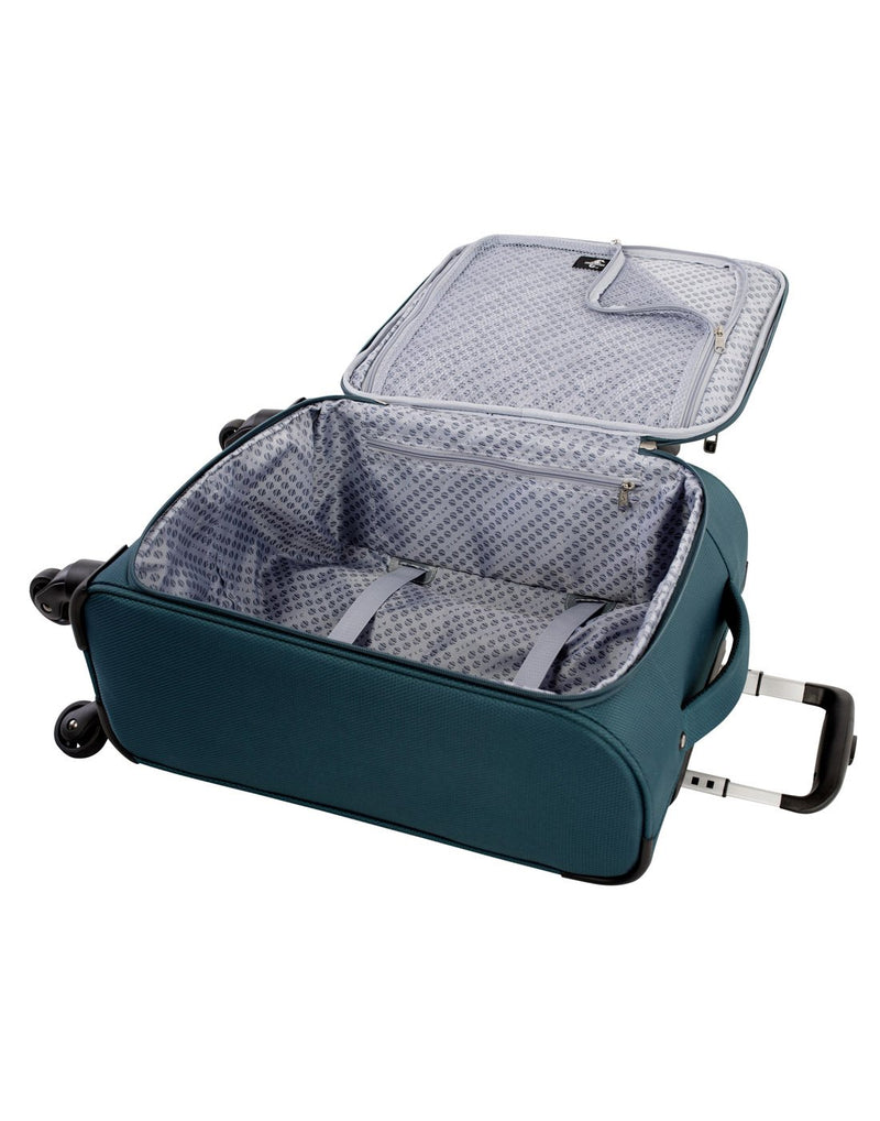 "Atlantic evo lite 19"" carry-on spinner teal colour luggage bag inside view"