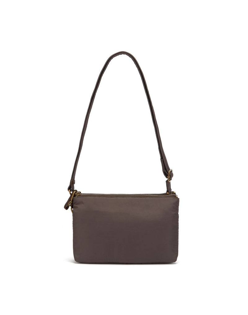 Pacsafe stylesafe anti-theft double zip mocha colour crossbody bag back view