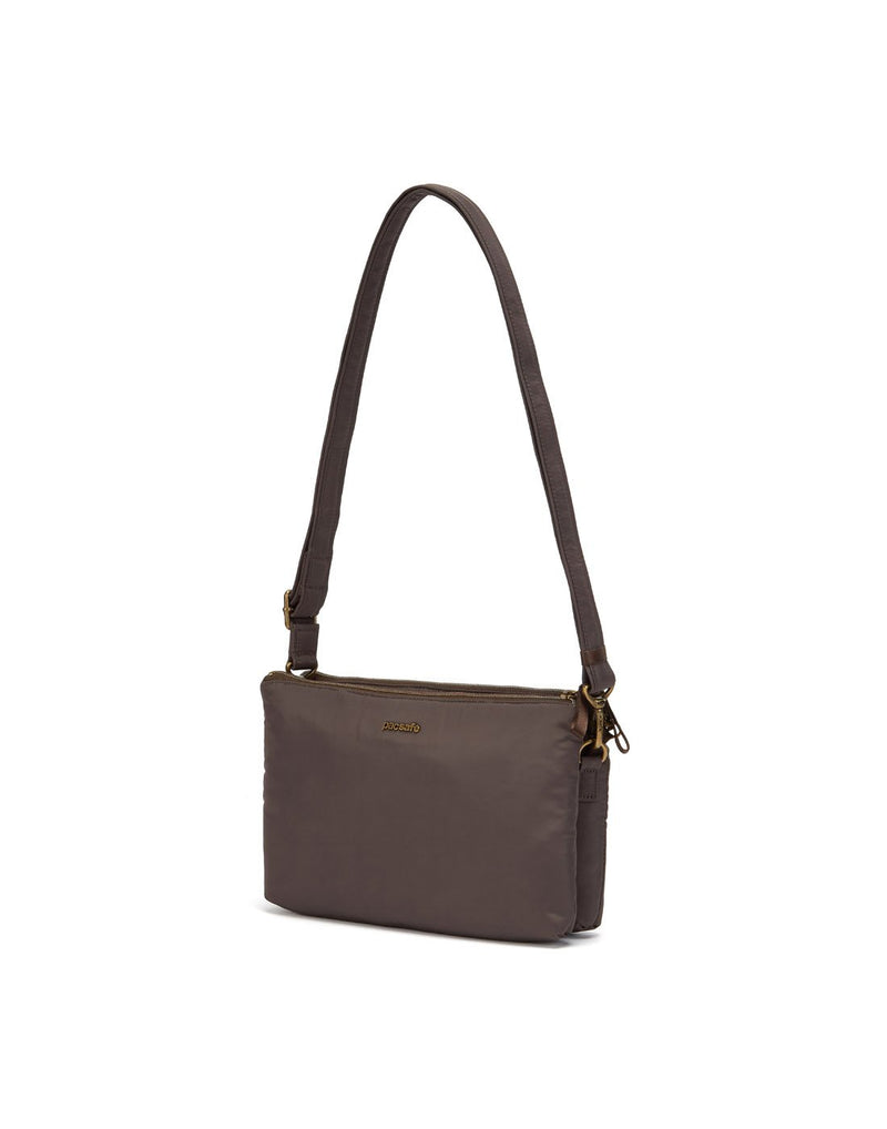 Pacsafe stylesafe anti-theft double zip mocha colour crossbody bag corner view
