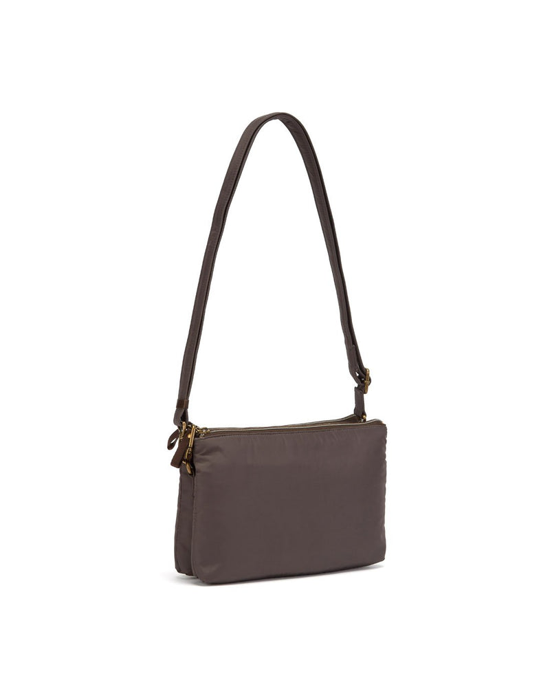 Pacsafe stylesafe anti-theft double zip mocha colour crossbody bag sideback view