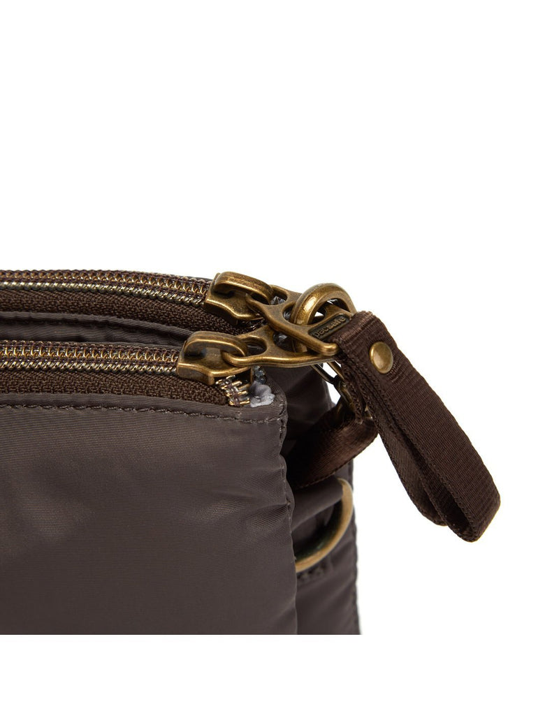 Pacsafe stylesafe anti-theft double zip mocha colour crossbody bag chain holder