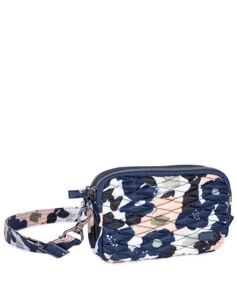 Lug coupe floral multidesign convertible crossbody and hip pouch corner view