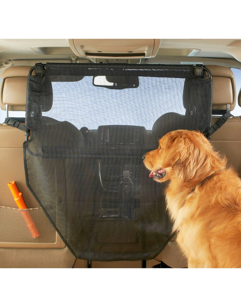 High road wag'nride dog barrier on display in a vehicle with a dog black colour front view