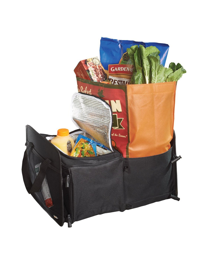 High road 3-in-1 cargo cooler tote black colour two sections extended and filled groceries corner view