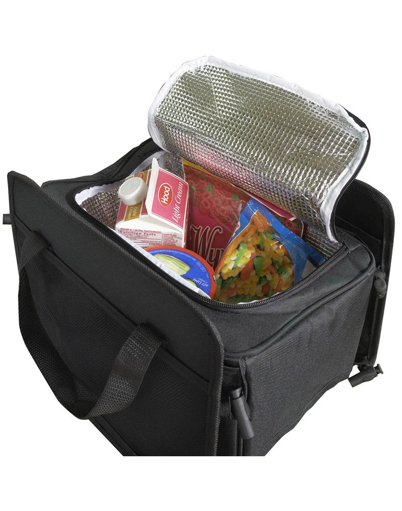 High road 3-in-1 cargo cooler tote black colour cooler only filled with groceries interior view